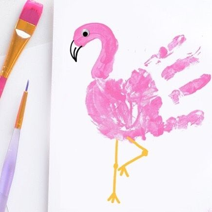 Flamingo Handprint Craft Supplies Needed: - White paper - Pink washable paint - Glue - Goggly eye - Paintbrush - Black & orange marker Use the paintbrush to paint your kid's hand with pink paint and place it on the white paper. Use a paintbrush to paint the flamingos head. When the paint has dried use the glue to stick on a googly eye. Now use the markers to add the beak and legs. For more information please click on the bio link. #shorooqideas #shorooqart #flamingo #flamingohandprint #