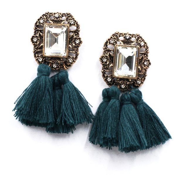 - Our Vintage Glam Tassel Earrings features beautiful gem colored tassels on antique-style crystal earrings. These earrings are the perfect addition to your cozy white sweaters or black dresses.