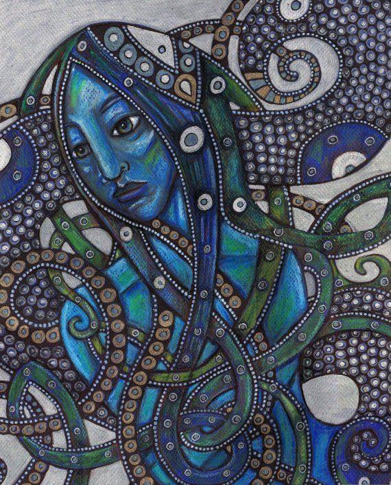 Melusine / Mermaid / Siren / Celtic - Fantasy Art Print. $30.00, via Etsy.