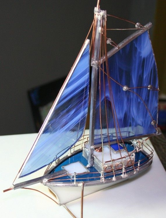 Dark Blue Medium Stained Glass Boat by Glassquirks on Etsy, $85.00