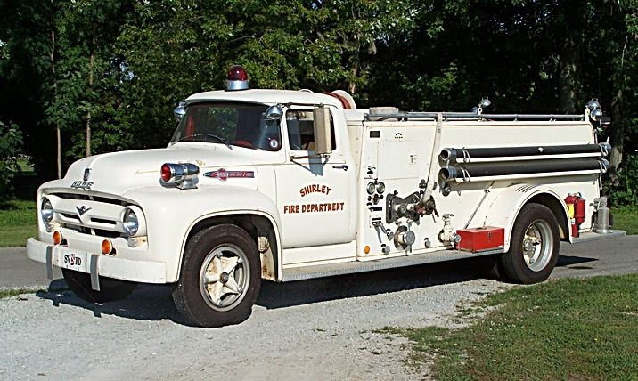 Shirley, IN Volunteer  1956 Ford/Howe Pumper - 500gpm/500gal Engine 11-01 was in service from 1956 to 2002. It was the first in a long tradition of white trucks purchased for the department.