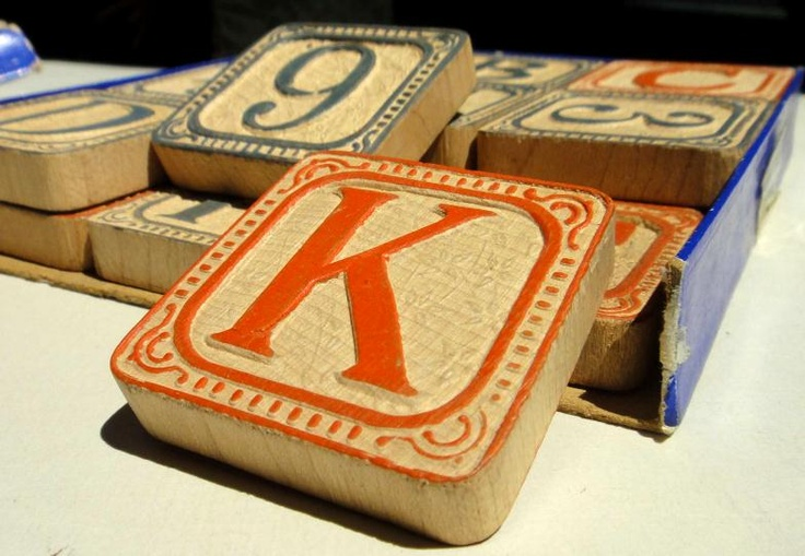 Victorian toy letter blocks
