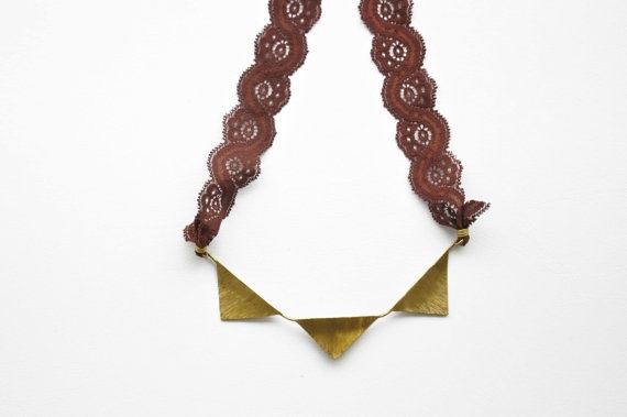 Statement brass lace necklace Geometric OOAK necklace by zOOzART, $52.00