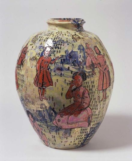 "Grayson Perry- one of his enormous hand-built pots ""Over the Rainbow"" via Saatchi Gallery"