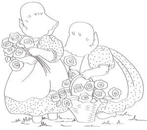 gathering flowers: Flower Embroidery, Sunbonnets, Printables, Flower Redwork, Recogiendo Flore, Sunbonnet Sue, Gathering Flower, Friends Gathering, Sunbonnet Friends