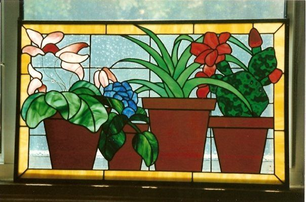 Flower pots stained glass