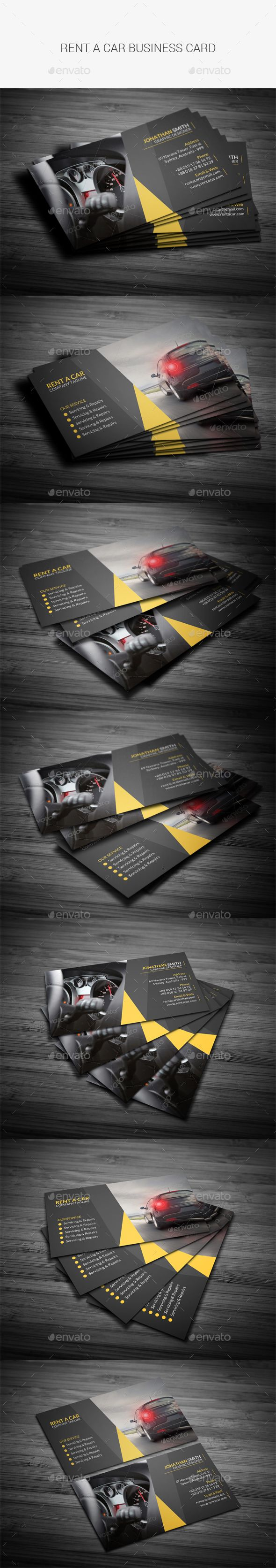 Rent A Car Business Card Template PSD #design Download: http://graphicriver.net/item/rent-a-car-business-card/13563843?ref=ksioks