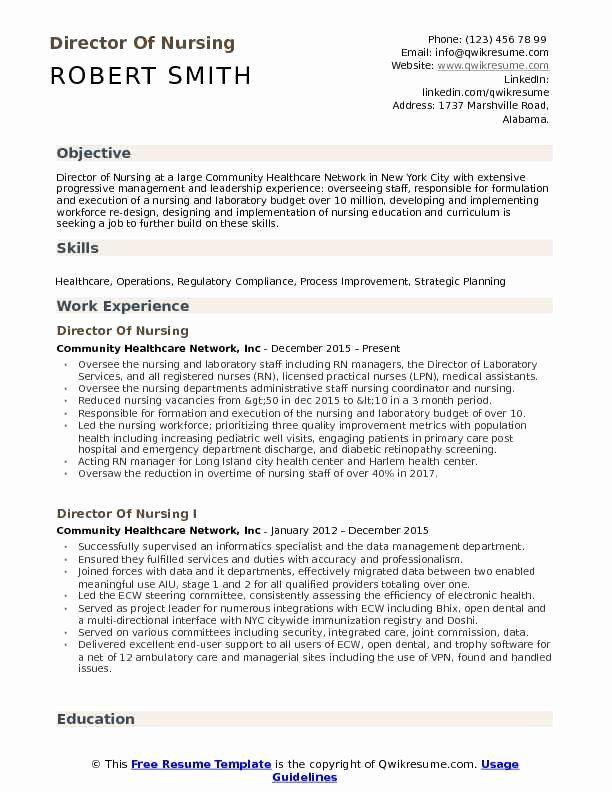 Director Of Nursing Resume Best Of Director Of Nursing Resume Samples Resume Objective Examples Director Of Nursing Nursing Resume Template