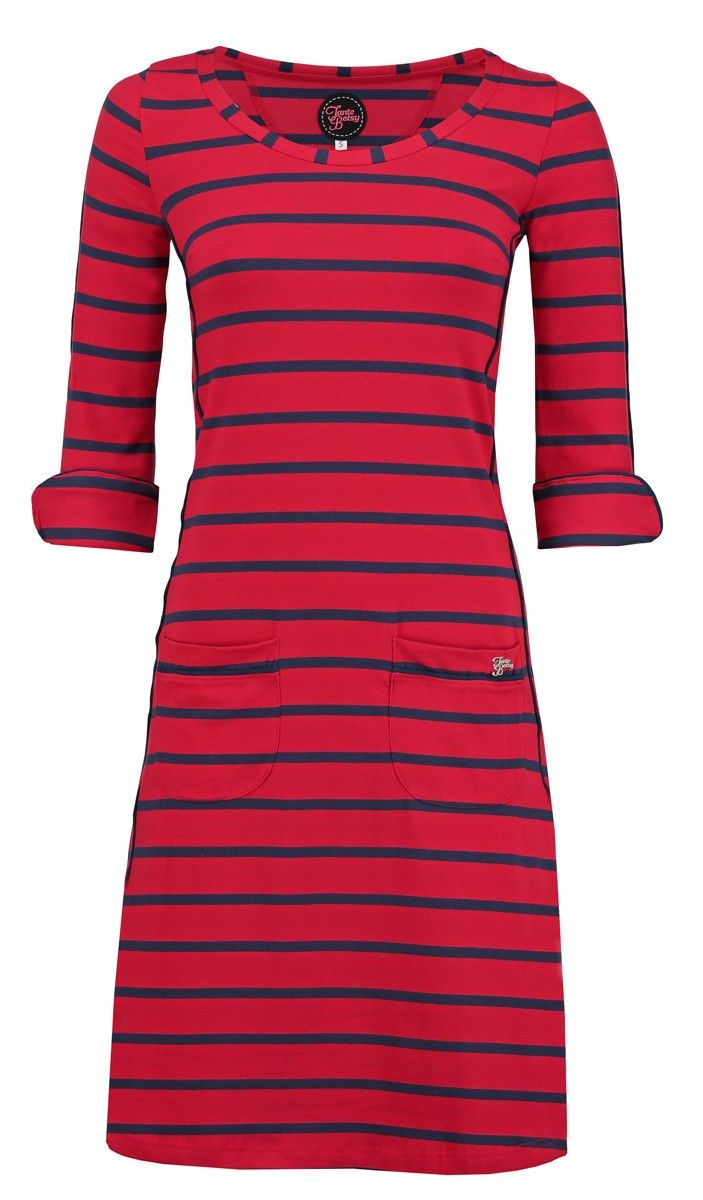 Tante Betsy Dress Patsy Stripe Rose Red dark navy blue jurk rood strepen donkerblauw