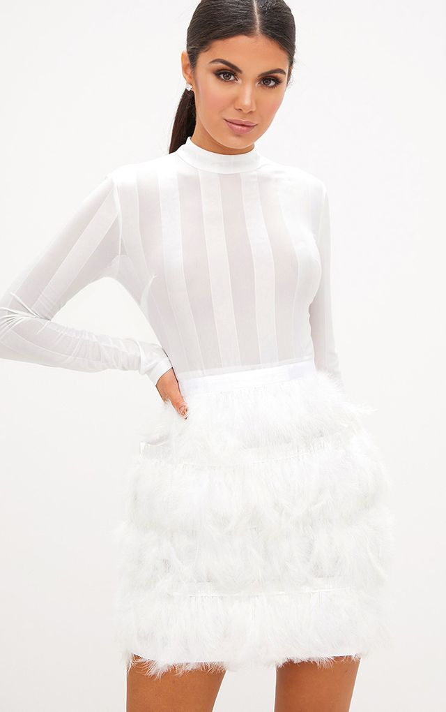 Fawn White Feather Skirt Bodycon Dress All White Party Outfits White Feather Skirt White Party Outfit