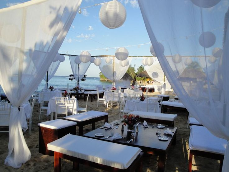 Wedding reception on the beach at Jamaica Inn http://jamaicainn.com/romance/weddings.php