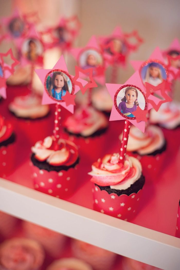 Cupcakes from American Girl Doll Themed Birthday Party at Kara's Party Ideas. See more at karaspartyideas.com!