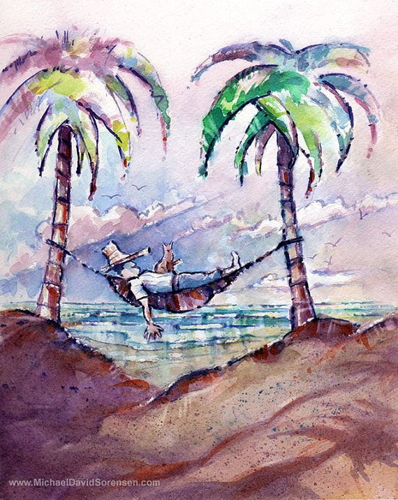 """The Siesta"" - Original Watercolor Painting by Michael David Sorensen"