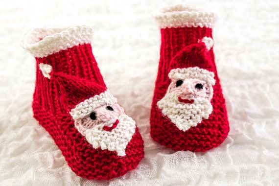 with this great PDF pattern you will have gorgeous Santa booties in time for Christmas, and holiday portraiture, great gifts and photo props! KNITTING PATTERN PDF Santa Booties Four Sizes by heaventoseven