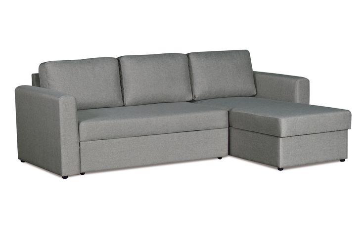 """Диван-кровать Дублин, ткань серая. Универсальный диван на все случаи жизни! Компактный и функциональный, имеет нейтральный цвет обивки, поэтому легко впишется в любой современный интерьер. Угловой диван-кровать """"Дублин"""" рассчитан на ежедневное использование в качестве спального места. Найдется место для постельного белья в угловой подъемной секции. Если вы захотите переставить его в другую комнату — не проблема! Направление угла легко поменять в домашних условиях."""