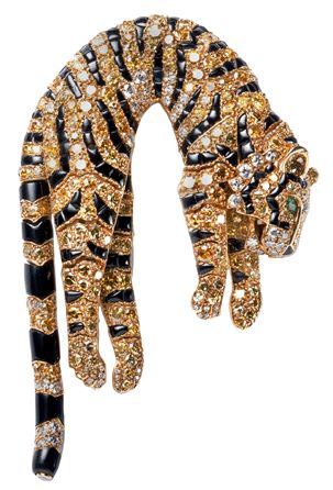 Articulated tiger brooch by Cartier. Sold to  Barbara Hutton in 1957.