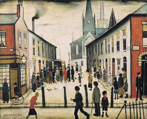 """L S Lowry.    Lowry is famous for painting scenes of life in the industrial districts of Northern England during the early 20th century. He had a distinctive style of painting and is best known for urban landscapes peopled with human figures often referred to as """"matchstick men"""". He also painted mysterious unpopulated landscapes, brooding portraits, and the secret 'marionette' works, the latter only found after his death"""
