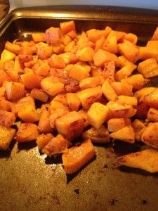 Roasted butternut squash with garlic & thyme.  21 day fix friendly!