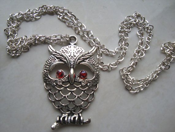 Owl Necklace silver color owl Jewelry  Cute mother by BiancasArt