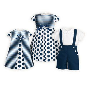 Navy Stripes and Dots Brother Sister Outfits