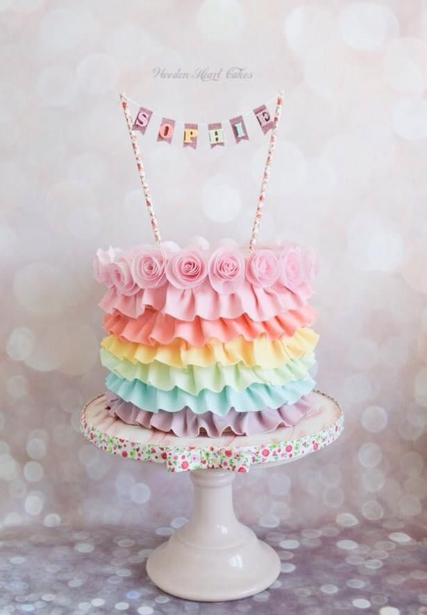 Sophie's Rainbow Ruffles by Wooden Heart Cakes