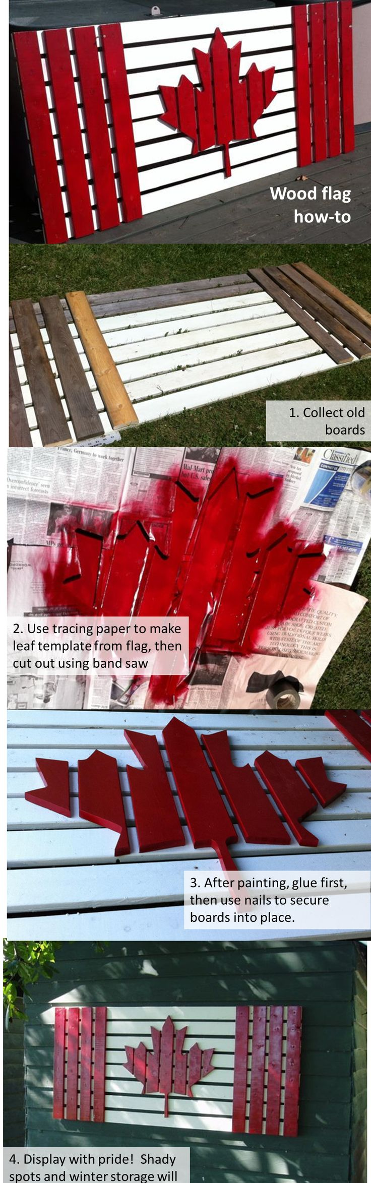 Wood wall art. How to make a Canadian flag using old boards, paint and a bit of creativity!
