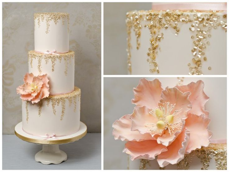 Cilla: A contemporary-styled ivory wedding cake with falling gold sequins and single large blush peony