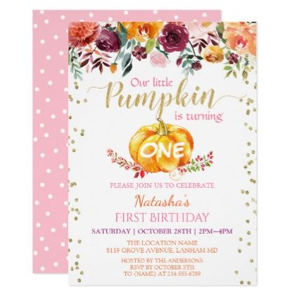 Little Pumpkin Floral Girl Baby 1st Birthday Party Card - glitter glamour brilliance sparkle design idea diy elegant