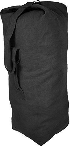 ArmyUniverse Black Giant Top Load Canvas Military Duffle Bag (30