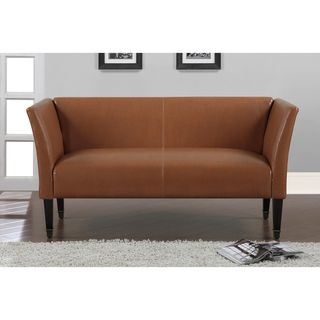 Marcella Tan Bonded Leather Loveseat With Bronze Capped Legs Great Deals Shopping And The O 39 Jays