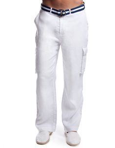 White linen cargo pants for men