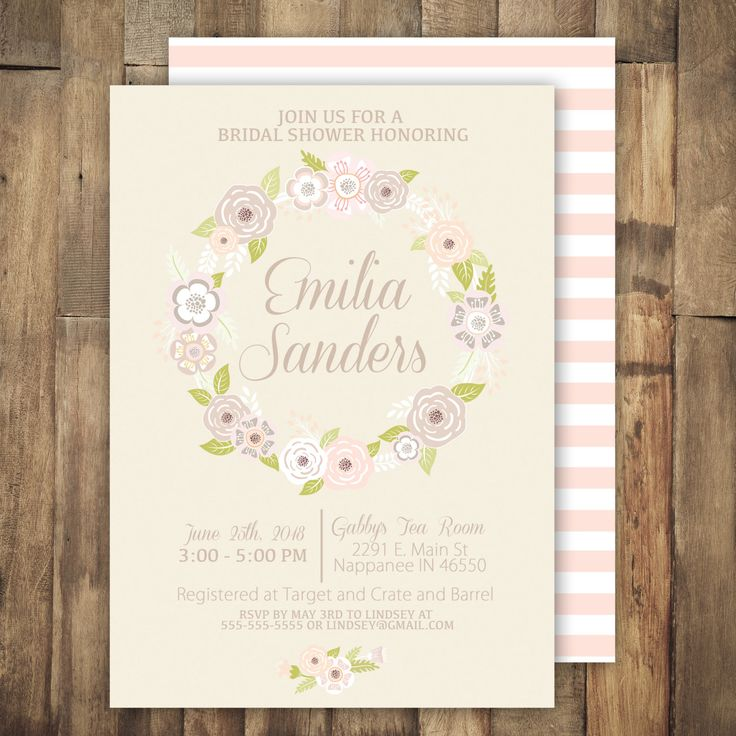 pink black and white bridal shower invitations%0A Printable Cream Floral Bridal Shower Invitation  Cream and Blush  Floral   Stipes  Wedding Invitation