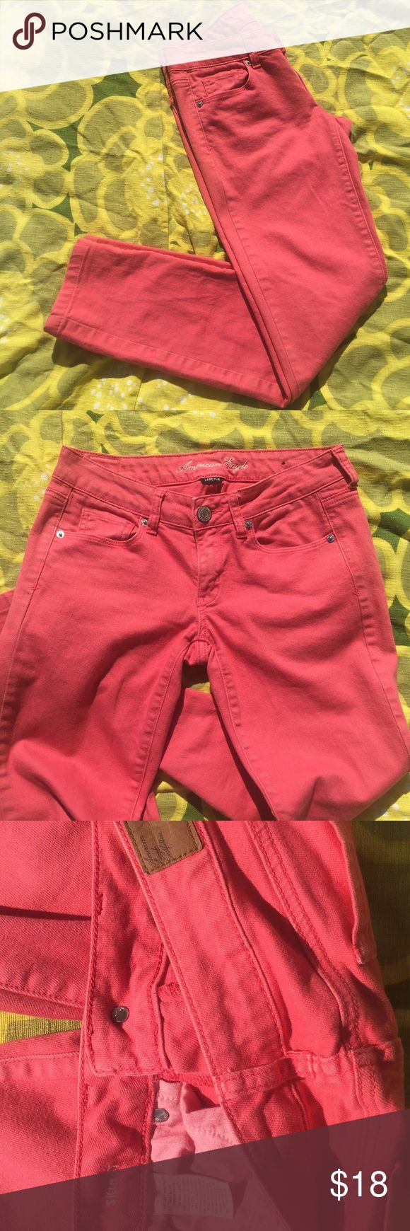 Electric peach skinny jeans These pants are peachy perfect! Love how bright they are! Tiny little mark on them pictured in last pic but may just come out of you wash them! American Eagle Outfitters Pants Skinny