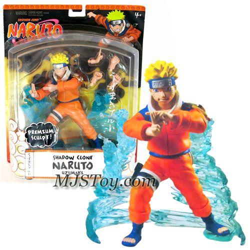 Mattel Year 2006 Shonen Jump's Naruto Series Premium Sculpt 7 Inch Tall Action Figure - SHADOW CLONE NARUTO UZUMAKI with 3 Authentic Shinobi Poses and Water Display Stand