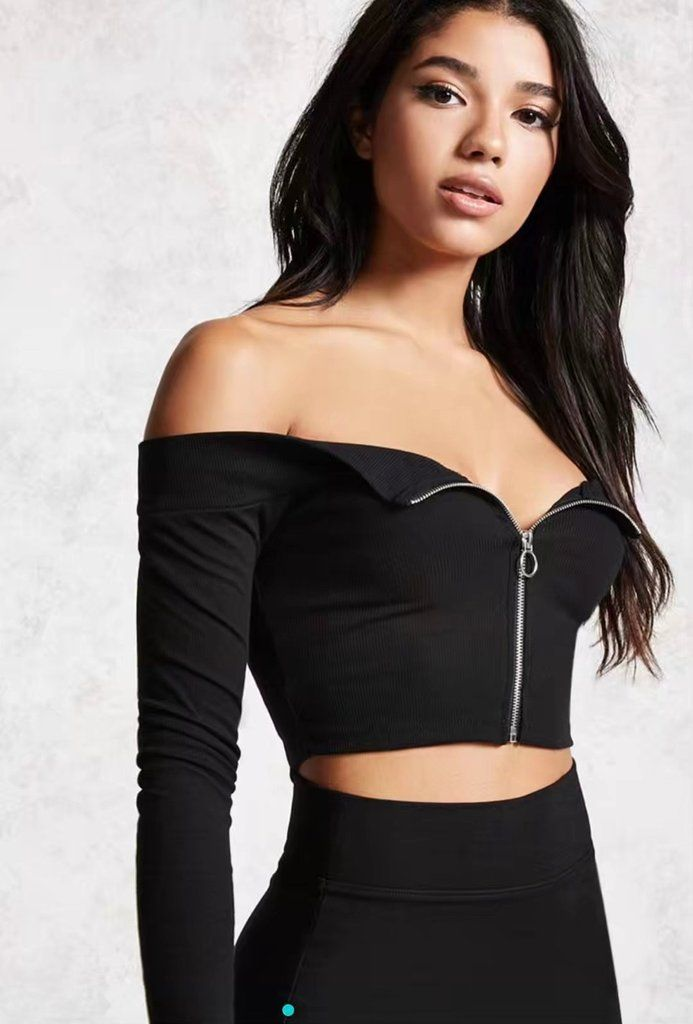 4 Colors Off-the-shoulder Front Zipper Crop Top – Lupsona ff0a9d60f