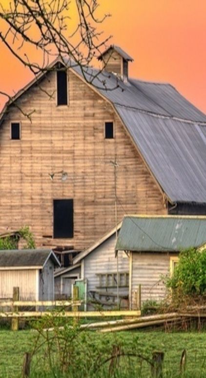 Barn With Peach Color Sunset