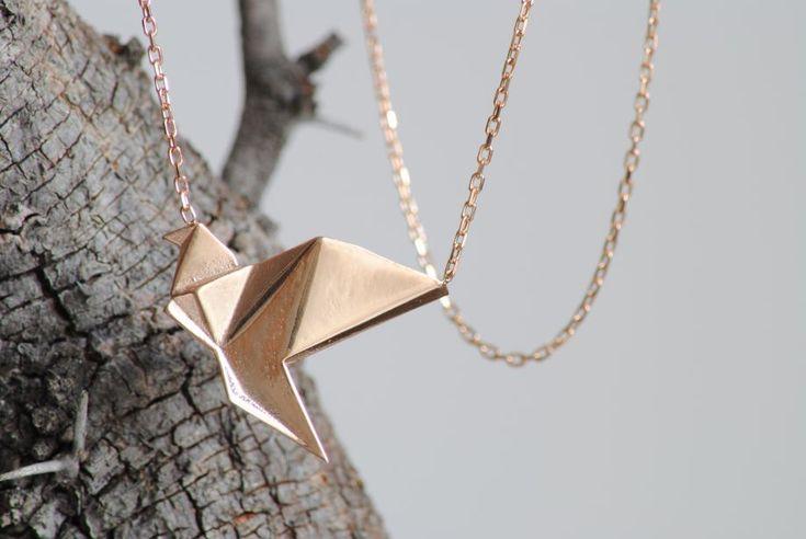 Origami 925 gümüş kuş kolye - Kolye 307409 | zet.com