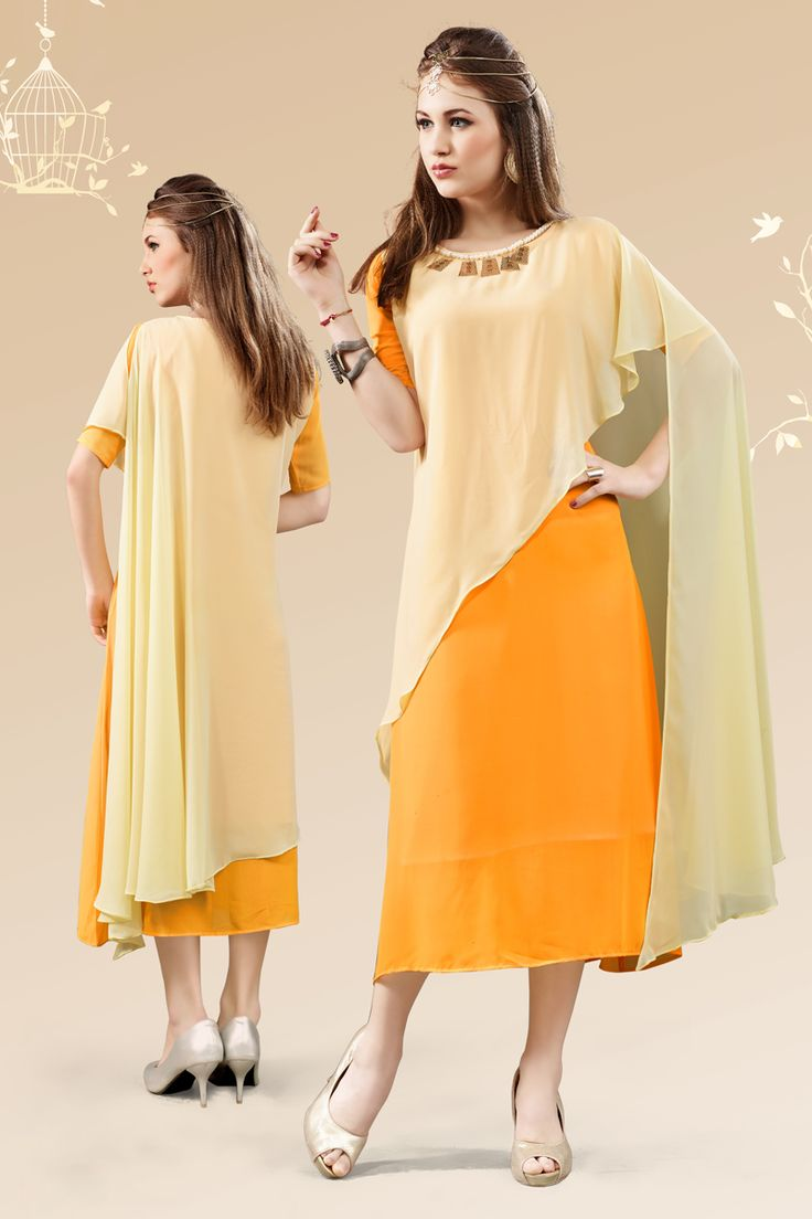 Orange and yellow stylish evening wear georgette kurtis and tunics 6933