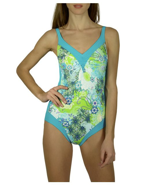 Bañador de mujer con estampado étnico-ornamental de tonos verdes