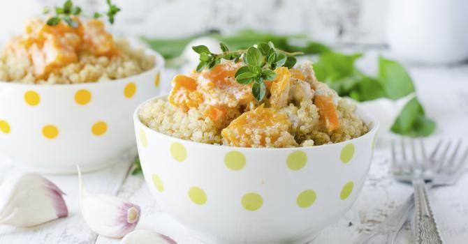 Recette de Quinoa au potiron et lait de coco sans matières grasses. Facile et rapide à réaliser, goûteuse et diététique.