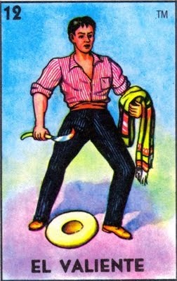 """Loteria card """"El Valiente"""" (The Brave One), No longer found in the modern set of cards."""