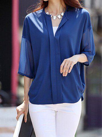 Jewel cuello con estilo medias mangas de gasa blusa para las mujeres
