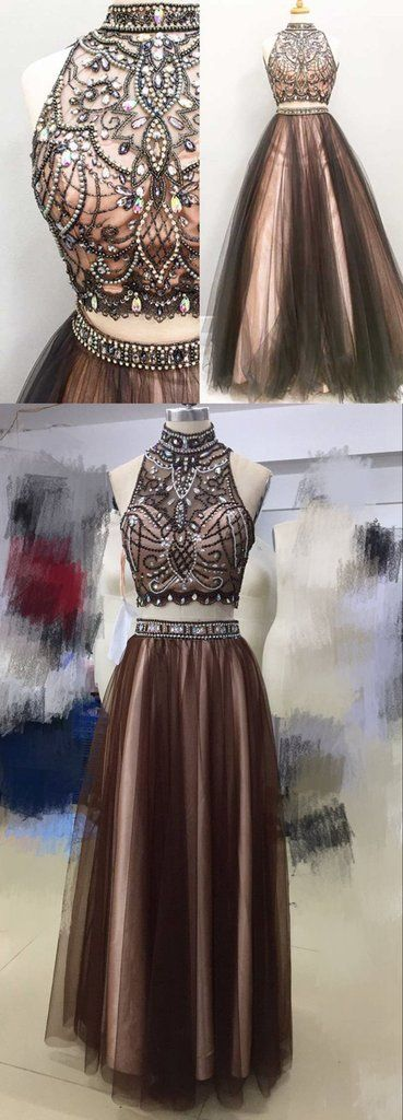 Two pieces brown prom dresses, Beaded prom dress, 2017 Tulle prom dress, dresses for prom, Long prom dress,