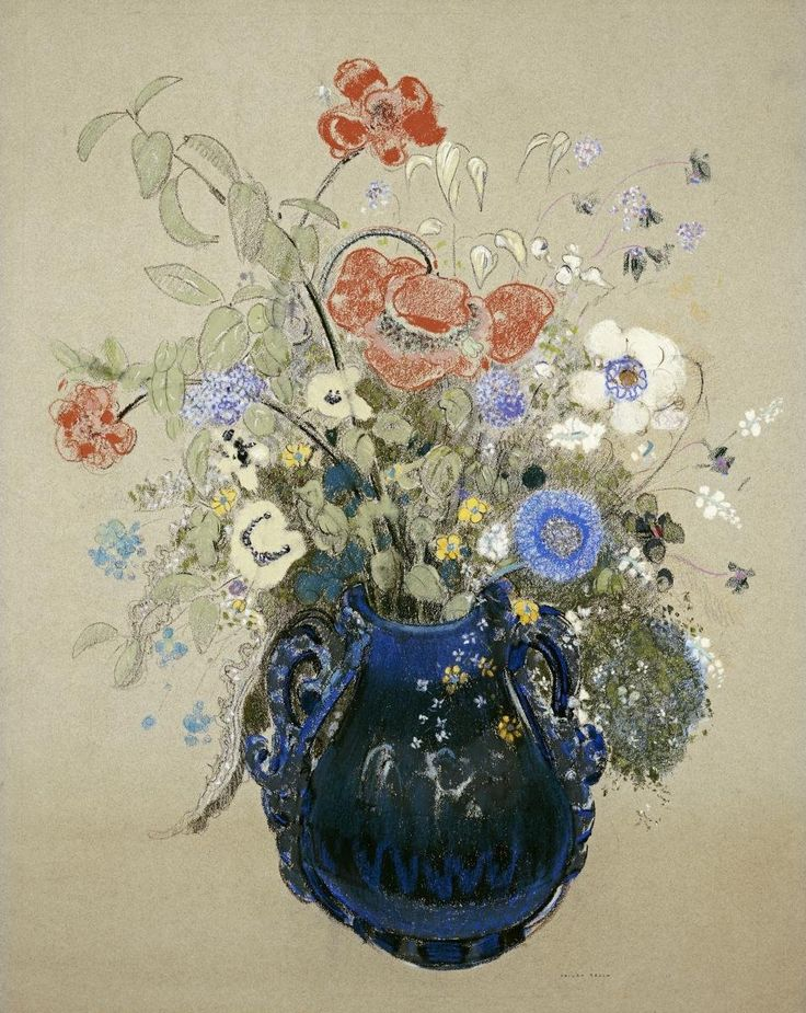Odilon Redon (French, 1840-1916), A Vase of Blue Flowers, c.1905-08. Pastel on paper. more