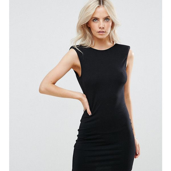 ASOS PETITE Mini Dress with Low Back and Shoulder Pads (29 AUD) ❤ liked on Polyvore featuring dresses, black, petite, low back mini dress, bodycon dress, round neckline dress, low back short dress and low cut back dress