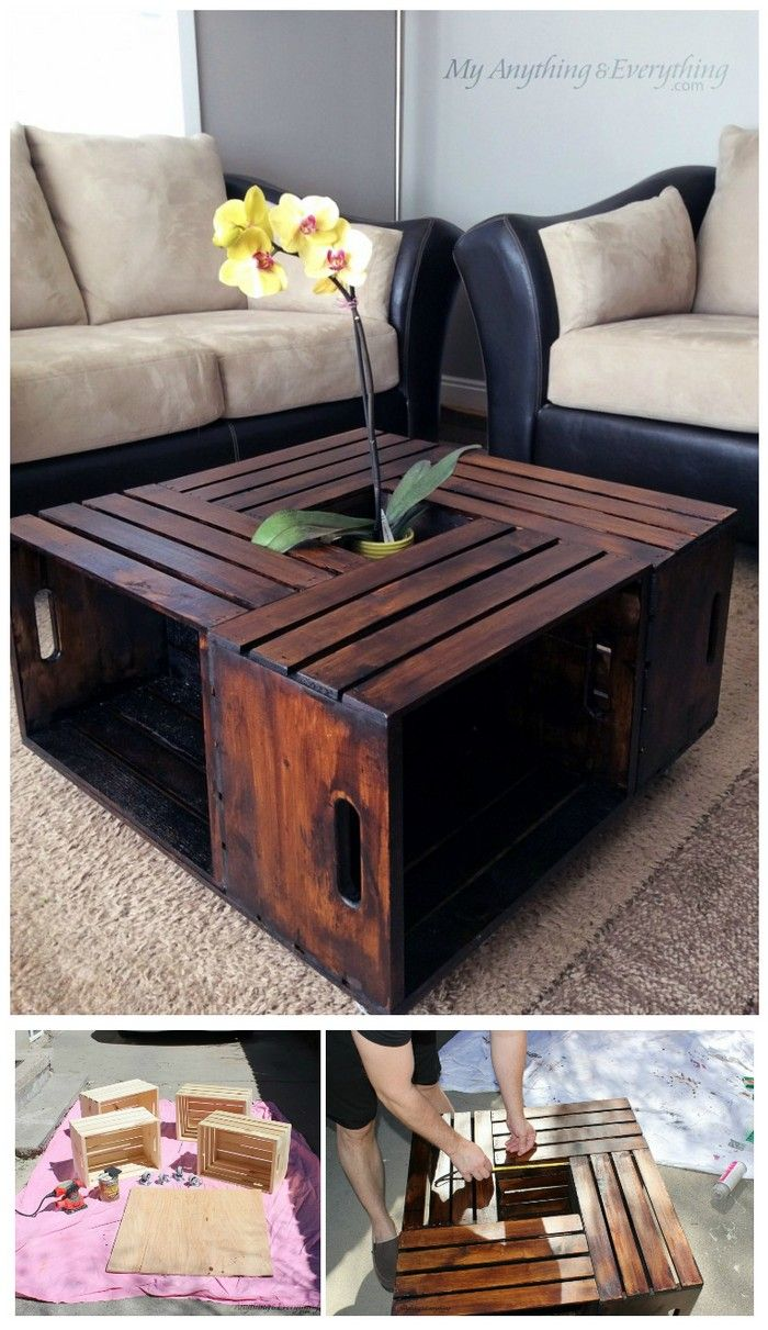 Do you want to make your living room creative without spending the fortune? So, create this wooden crate coffee table that will increase the beauty of your living room. You just have to collect the wooden crates instead of throwing them out to create this table. It will enhance the look of your living room and make it fabulous without spending money.
