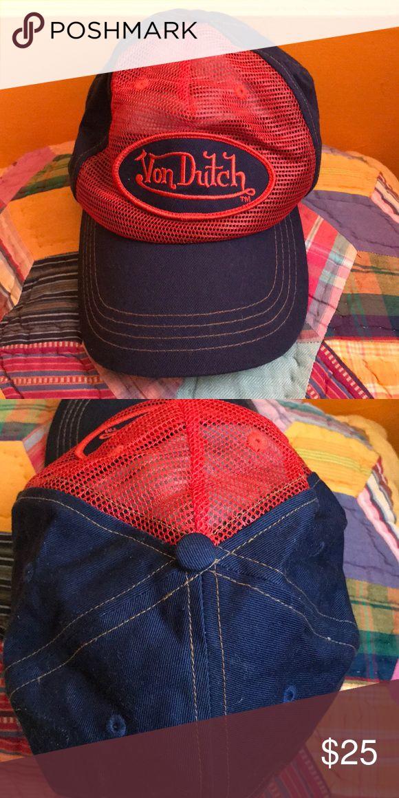 Von Dutch hat Red and blue adjustable Von Dutch hat Von Dutch Accessories Hats