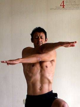 Outer shoulder stretch, crossing arms in front of chest with elbows straihgt,neil keleher, sensational yoga poses.