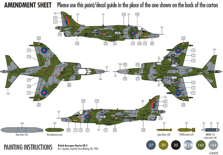 BAe Harrier GR3 1/72 Scale Airfix ,50093
