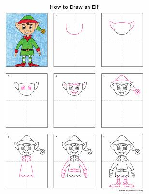 Elf directed drawing. This is so cute and easy to do! Art Projects for Kids